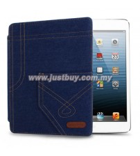 iPad 2, iPad 3, iPad 4 Jeans Design Leather Case - Dark Blue