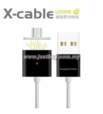 WSKEN Dual Metal Magnetic Micro USB X-Cable With Indicator - Black