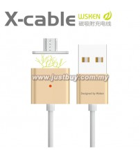 WSKEN Dual Metal Magnetic Micro USB X-Cable With Indicator - Gold