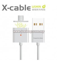 WSKEN Dual Metal Magnetic Micro USB X-Cable With Indicator - Silver