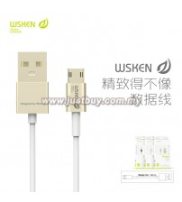 WSKEN Double Side Reverse Plug 2.4A Fast Charging Micro USB Cable - Gold