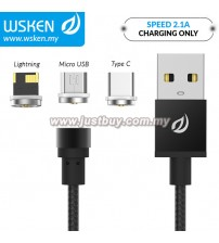 WSKEN Micro USB / Lightning / Type C 2.1A Round Magnetic X-Cable Black