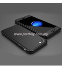 iPhone 7 Full Body Coverage Protection Case With Tempered Glass - Black