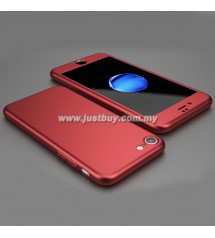 iPhone 7 Full Body Coverage Protection Case With Tempered Glass - Red