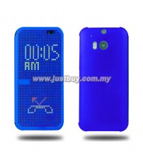 HTC One M8 OEM Dot View Flip Case - Blue