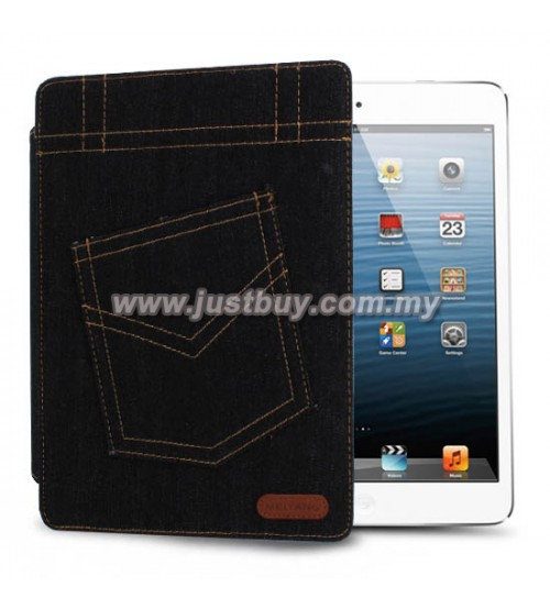 iPad 2, iPad 3, iPad 4 Jeans Design Leather Case - Black