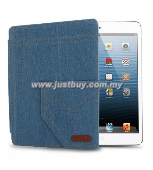 iPad 2, iPad 3, iPad 4 Jeans Design Leather Case - Blue