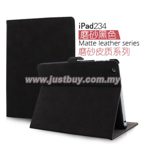 iPad 2, iPad 3, iPad 4 Matte Leather Case - Black
