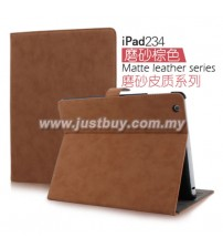 iPad 2, iPad 3, iPad 4 Matte Leather Case - Brown