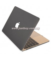 Macbook Retina 12 Inch Rubberized Hard Cover Case - Black