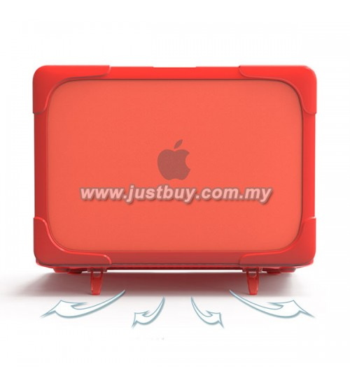 Macbook Pro Retina 13 Inch A1502/A1425 Crystal + TPU Shell Armor Shock Proof Case - Red