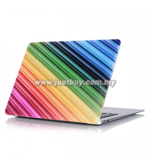 Macbook PRO Retina 13 Inch A1502/A1425 Art Graphic Rubberized Hard Case - Rainbow Stripes