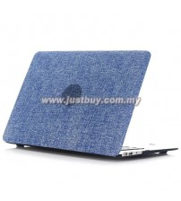 Macbook PRO Retina 13 Inch A1502/A1425 Jeans Rubberized Hard Case - Dark Blue