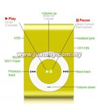 Mini Metal MP3 Player - Yellow