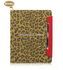 iPad 2, iPad 3, iPad 4 Magnetic Leopard Print Case - Brown