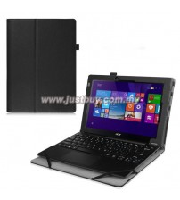 Acer Aspire Switch 10E SW3-013 Keyboard Cover PU Leather Case - Black