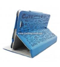 Asus Fonepad ME371 Cute Pattern Skin Leather Case - Dark Blue