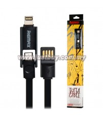REMAX 2 In 1 Lightning & Micro USB Flat Charging Data Cable