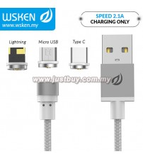 WSKEN Micro USB / Lightning / Type C 2.1A Round Magnetic X-Cable