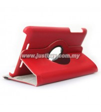 Google Nexus 7 360 Degree Rotation Leather Case - Red