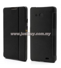 Huawei Ascend Mate Flip Leather Case - Black