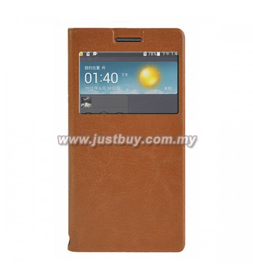 Huawei Ascend P6 Flip Cover - Brown