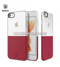 iPhone 7 Baseus Half Transparent TPU Case - Red