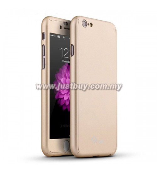 iPhone 6 / iPhone 6s Full Body Coverage Protection Case With Tempered Glass - Gold
