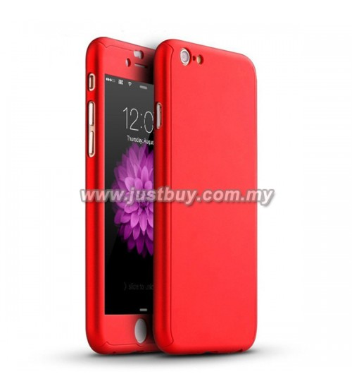 iPhone 6 / iPhone 6s Full Body Coverage Protection Case With Tempered Glass - Red
