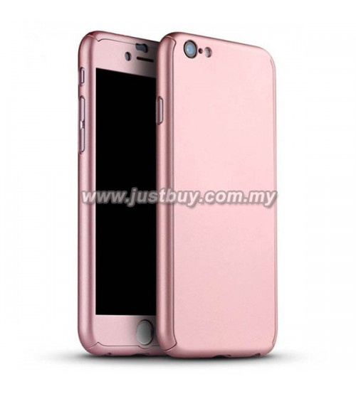 iPhone 6 / iPhone 6s Full Body Coverage Protection Case With Tempered Glass - Rose Gold