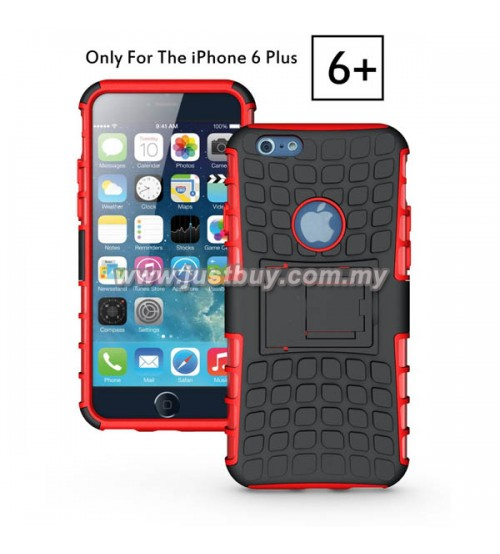 iPhone 6 Plus Dual Armor Composite Stand Case - Red