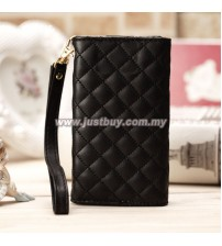 iPhone 4/4s Grid Pattern Luxury Wristlet - Black