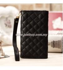 iPhone 4/4s Grid Pattern Luxury Wristlet - Black
