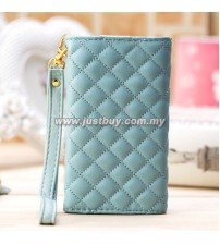 iPhone 4/4s Grid Pattern Luxury Wristlet - Blue