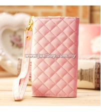 iPhone 4/4s Grid Pattern Luxury Wristlet - Pink