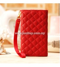 iPhone 4/4s Grid Pattern Luxury Wristlet - Red
