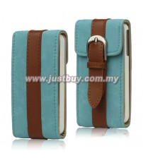 iPhone 4/4s 360 Degree Rotation Leather Case - Blue