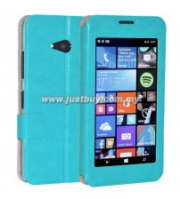 Microsoft Lumia 640 Window View Flip Case - Blue
