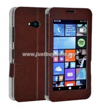 Microsoft Lumia 640 Window View Flip Case - Brown