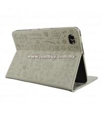 Samsung Galaxy Tab 7.7 P6800 Korea Cute Design Leather Case - Grey