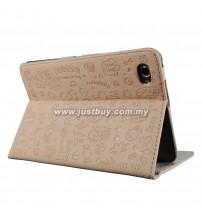 Samsung Galaxy Tab 7.7 P6800 Korea Cute Design Leather Case - Light Pink