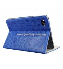 Samsung Galaxy Tab 7.7 P6800 Korea Cute Design Leather Case - Blue