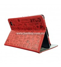 Samsung Galaxy Tab 7.7 P6800 Korea Cute Design Leather Case - Red