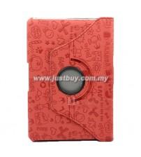 Samsung Galaxy 10.1 P7500/P5100 Rotating Korea Cute Case - Red