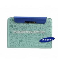 Samsung Galaxy Tab 7 Plus P6200 Cute Pattern Leather Book Case - Blue