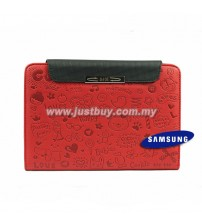 Samsung Galaxy Tab 7 Plus P6200 Cute Pattern Leather Book Case - Red