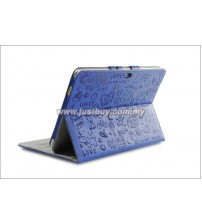 Samsung Galaxy Tab 10.1 P5100 & P7500 Korea Cute Design Leather Case - Blue