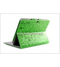 Samsung Galaxy Tab 10.1 P5100 & P7500 Korea Cute Design Leather Case - Green