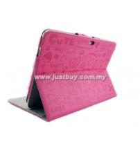 Samsung Galaxy Tab 10.1 P5100 & P7500 Korea Cute Design Leather Case - Pink