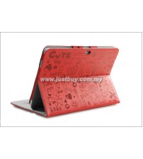 Samsung Galaxy Tab 10.1 P5100 & P7500 Korea Cute Design Leather Case - Red